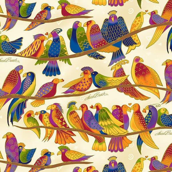 Clothworks Wild Ones Flannel Y2330-57 Cream `