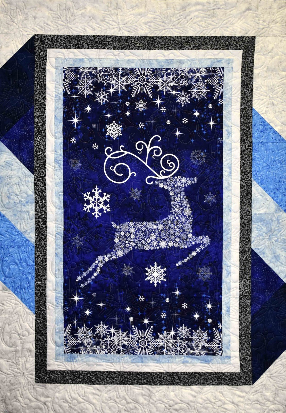 Nothcott Christmas Reindeer Prance Metallic Blue `
