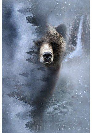 Hoffman Fabrics Call Of The Wild Storm Bear R4594-147 `