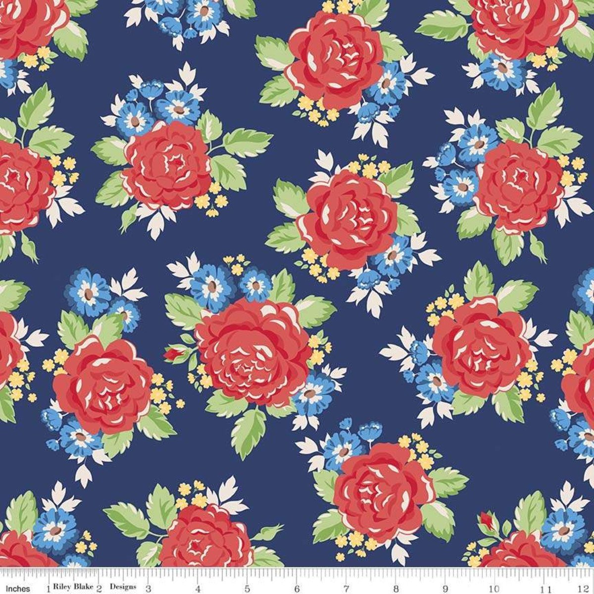 Harry & Alice Dot Navy Flower `