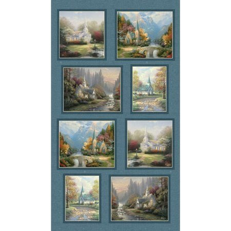Kinkade Hometown Chapel Panel Blue `