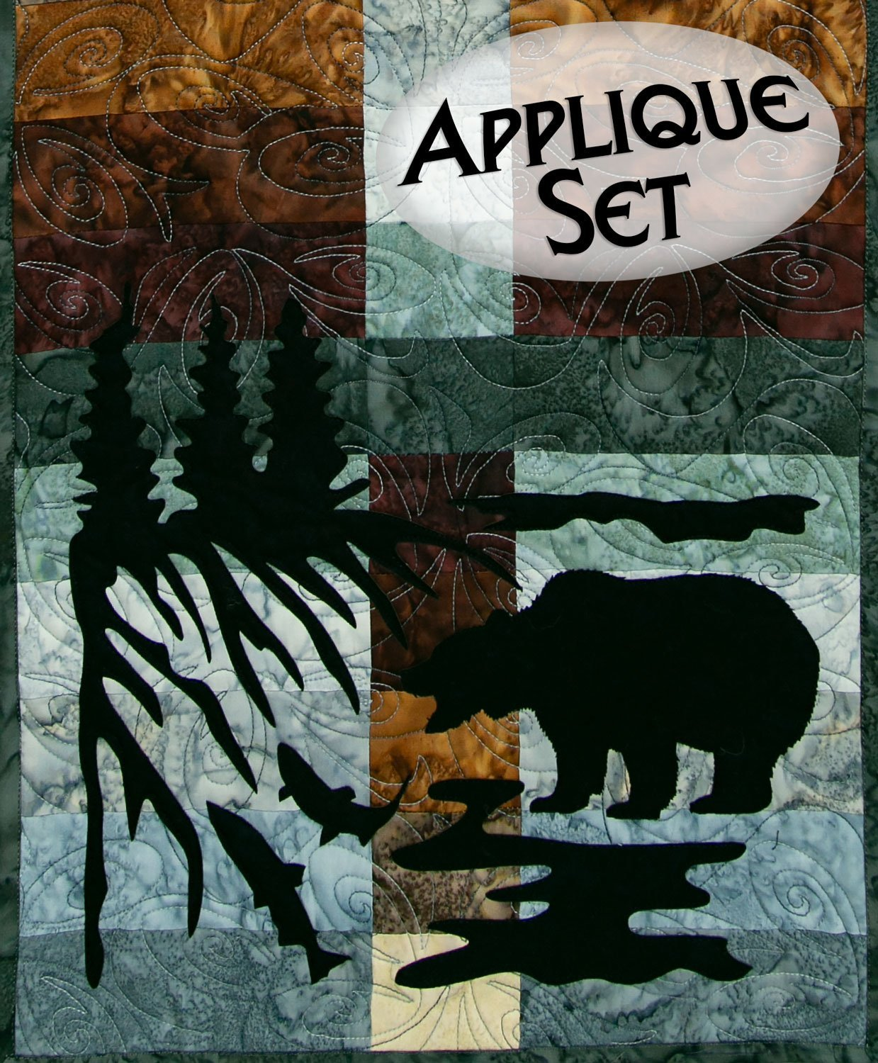 Wildwood Grizzly Bear Applique Set Northern Threads +