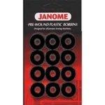 Janome Pre-Wound Plastic Bobbins Black 732212155857