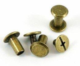 Chicago Screws Antique Brass 7mm Shank & 10mm Diameter 2pk `