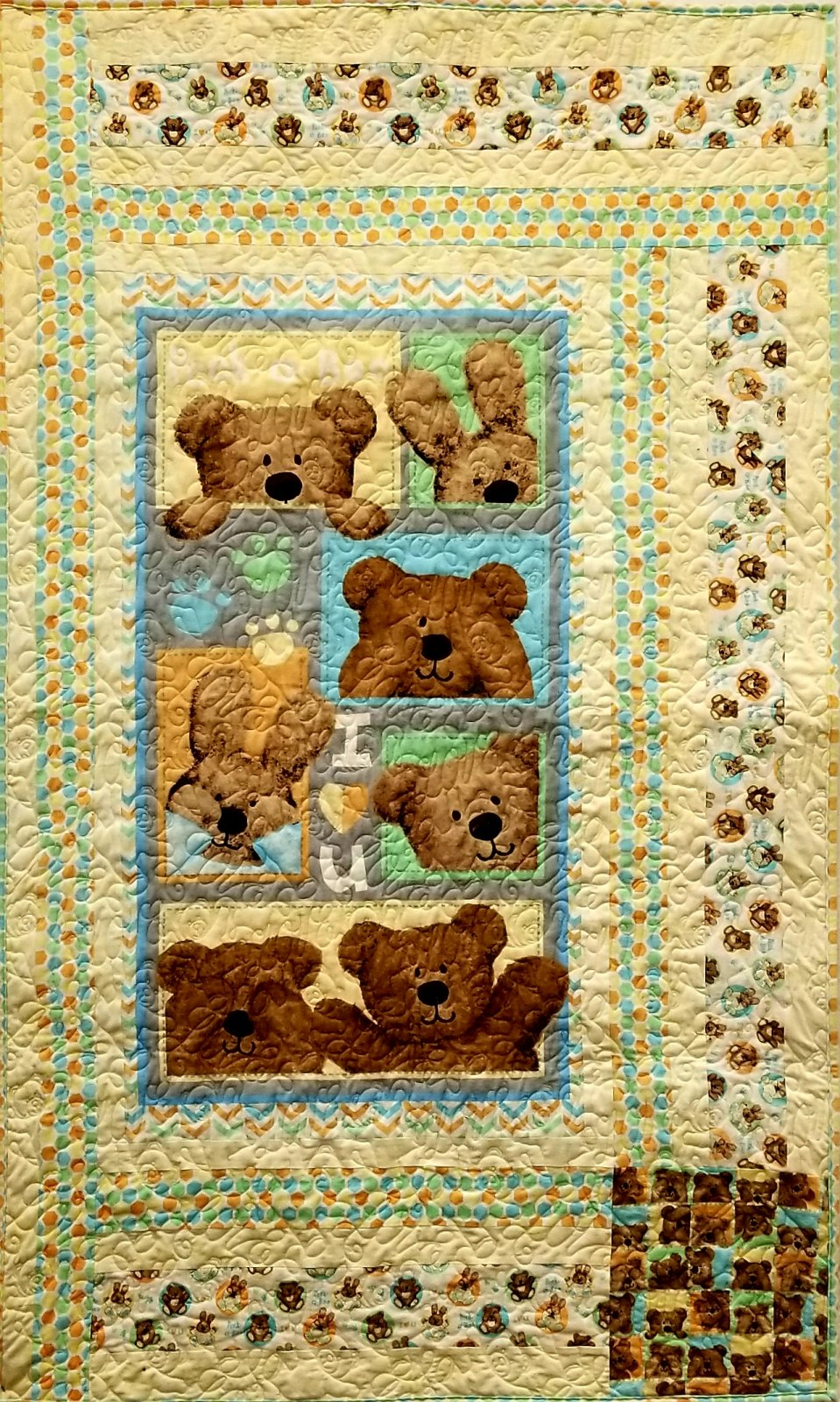Peek A Boo Blue Quilt/ Wall Hanging