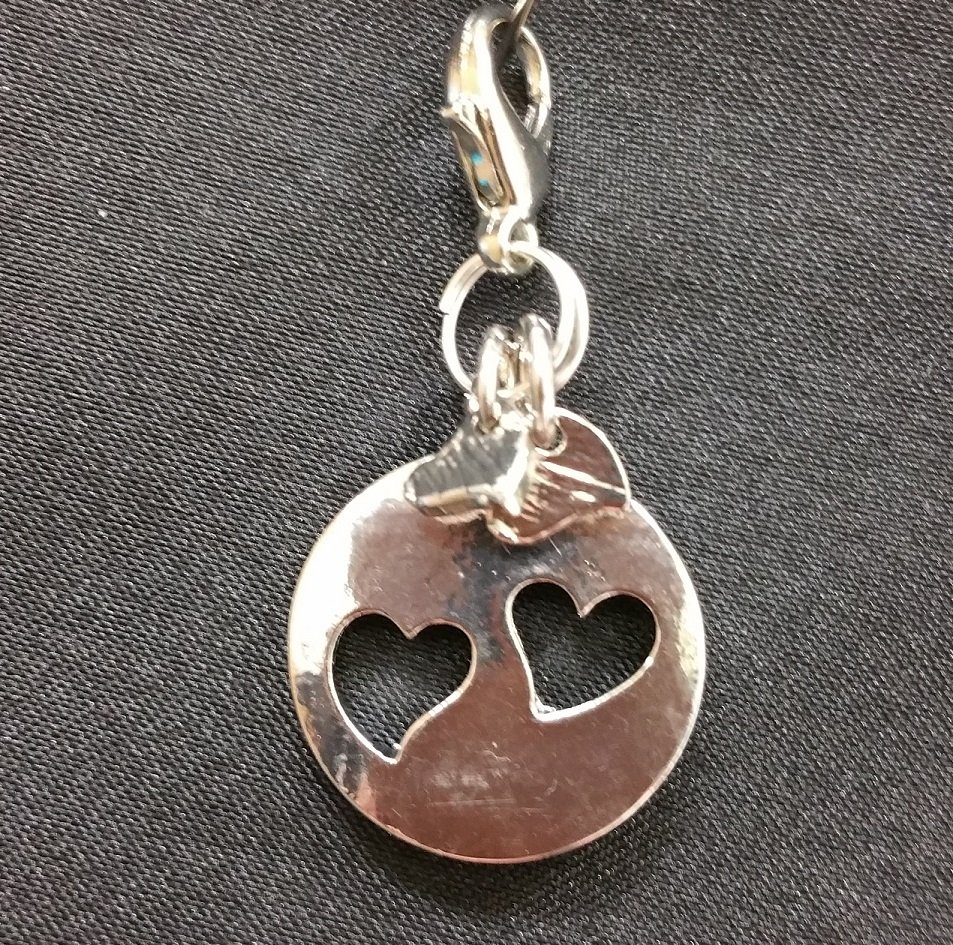 Sand Dollar with Hearts Charm with Lobster Claw - Silver`