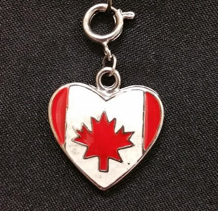 Canadian Flag in Heart Charm with Lobster Claw`