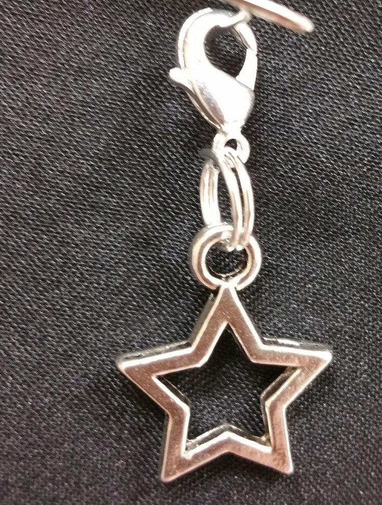 Star Outline Charm with Lobster Claw - Silver=