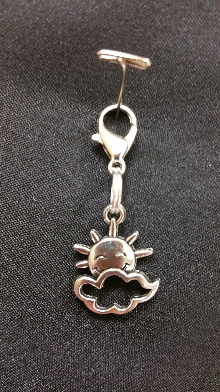 Sun & Cloud Charm with Lobster Claw - Silver`