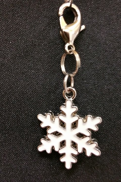 White Snowflake Charm with Lobster Claw `