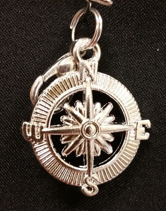 Compass Charm with Lobster Claw - Silver`