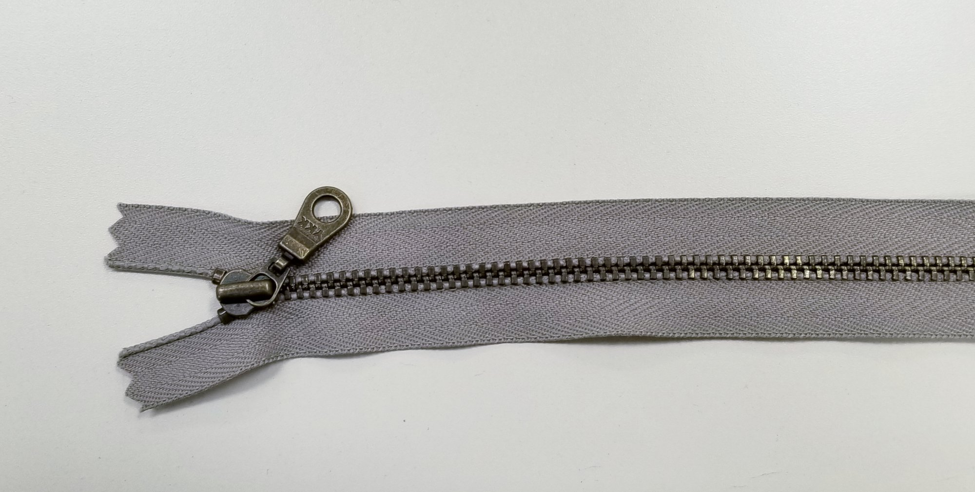 14 Slate Grey antique brass metal zipper YKK with DHR Wire style pull `