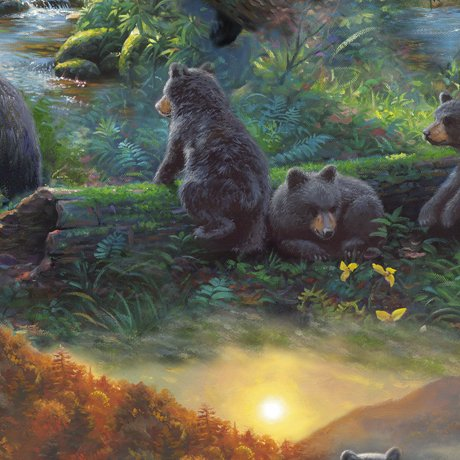 Quilting Treasures Nature's Bears 26822-X Black Bears in the Forest `