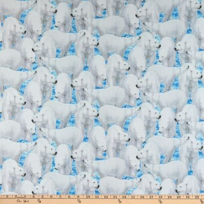 Quilting Treasures - Northern Lights Polar Bear Blue `
