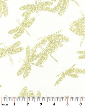 Etched Dragonfly - Cream/Gold Metallic  ~