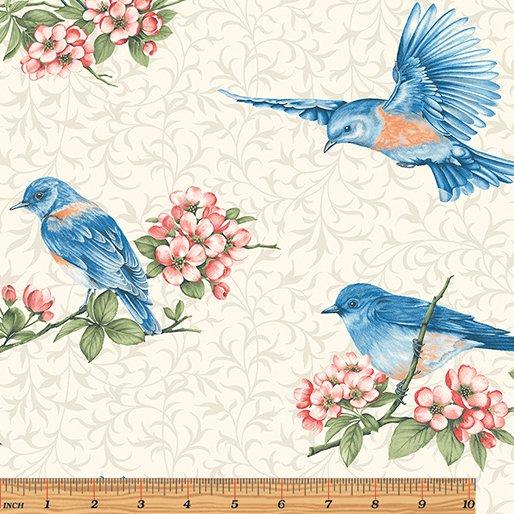 Benartex Bluebird Gathering - Large Bluebirds  ~..