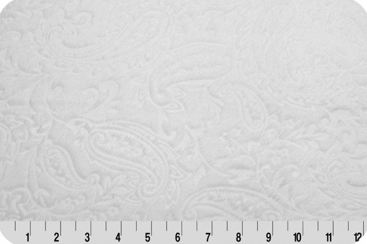 Shannon Fabrics Embossed Paisley Vine Cuddle Minky PC WHITE `