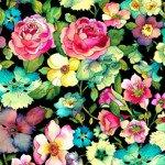 Quilting Treasures Rosalyn Large Floral Black 27299-J `