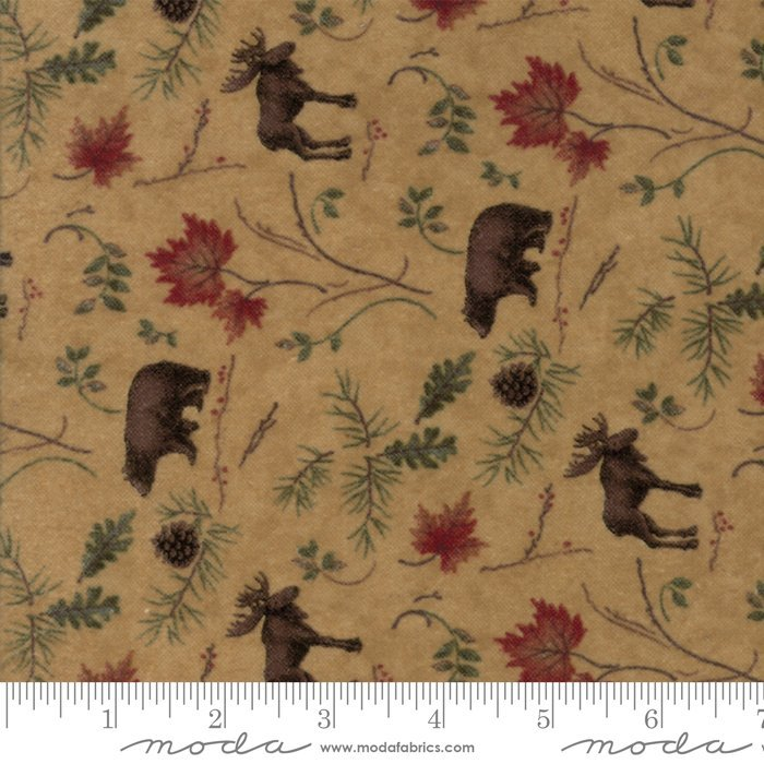 Moda Return to Cub Lake Flannel 6742-11F Golden Animals `