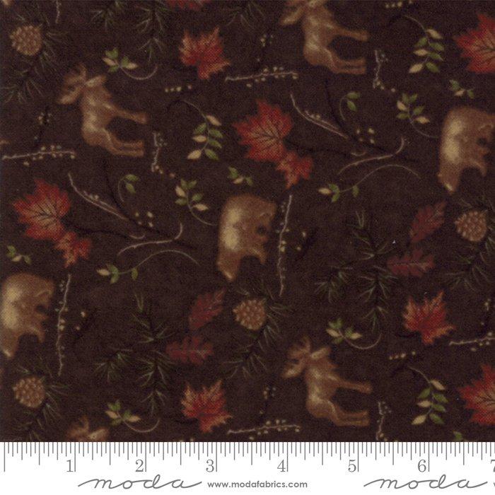Moda Return to Cub Lake Flannel 6742-18F Dark Brown Animals `