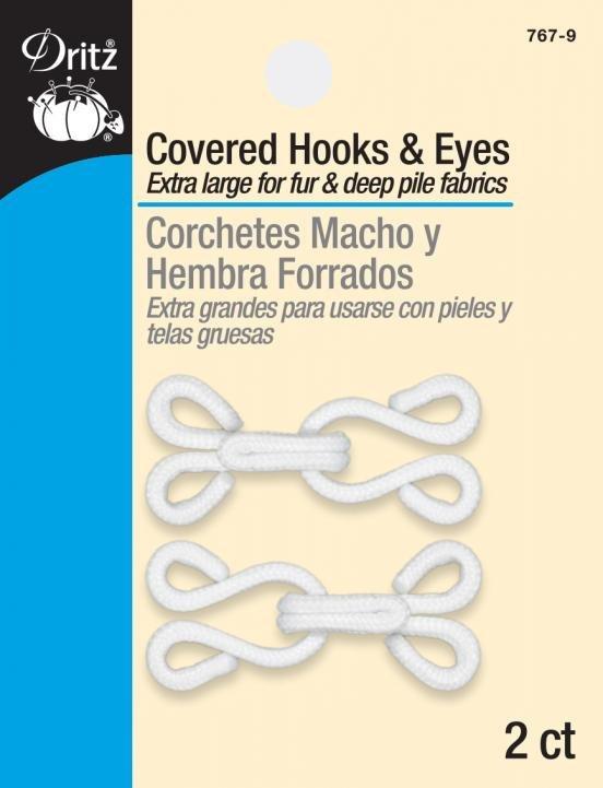 2 Covered Hooks and Eyes - white`