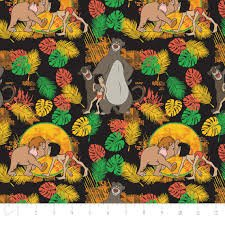 Camelot Fabrics Jungle Book Friends Characters on black 85220103-01 `