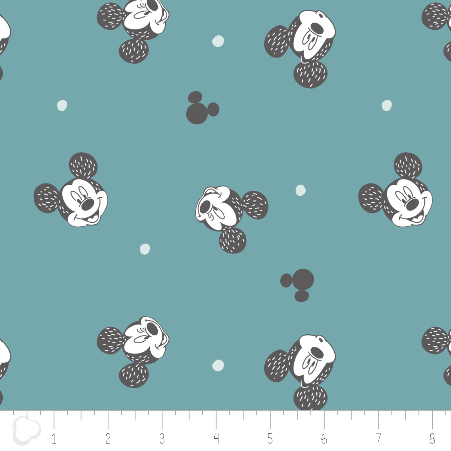 Camelot Fabric Mickey Mouse Faces in Mineral 85270303-03 `