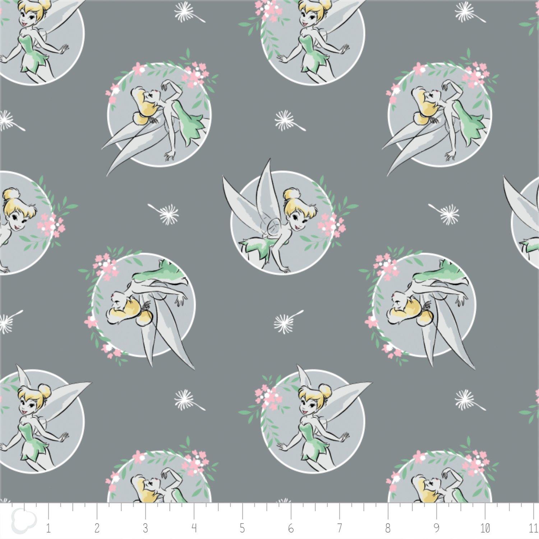 Camelot Fabrics Disney Tinker Bell Floral Frame Grey 85400101-3 `