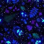 FBX 58 Henry Glass & Co Summer Night Soiree 9199G-97 Black Tossed Leaves & Mushrooms Glows in the Dark