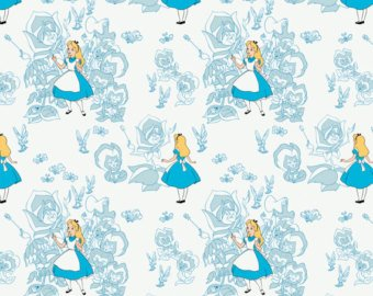 Camelot Fabrics Alice in Wonderland Golden Afternoon Toile 85020103-01 `