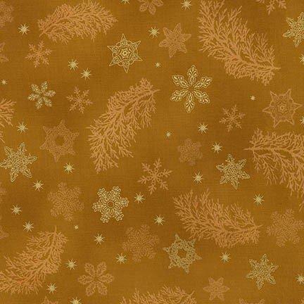 Holiday Flourish 9 Gold SnowFlakes Metallic Robert Kaufman APTM-15767-133 `