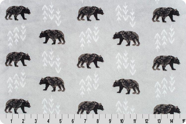 Shannon Fabrics Premier Beafoot Cuddle  BEARFOOTSTEEL Steel Bears  '