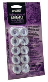 Brother Pre-wound Reusable Plastic Bobbins 10Pk PWB200