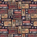 Timeless Treasures Patriotic Rustic Signs C7996-NVY '