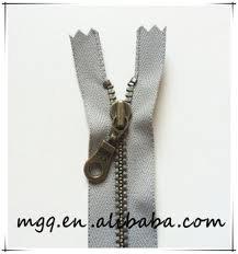 14 Inch YKK  Antique Brass Metal Zipper- Color- Wet Cement `