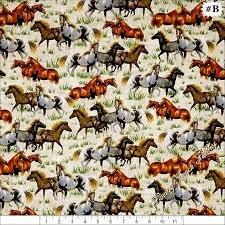 Round 'em Up Runninhg Horses Cream Quilting Treasures 26604-E