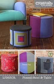 Pieced Stool and Table from Crossroads by Amy Barickman