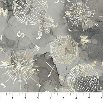 Northcott Journey Compass Grey DP23893-93