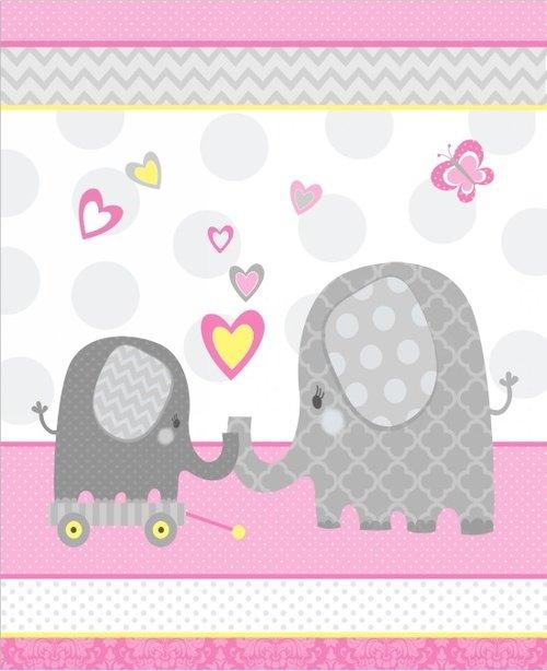 Hello Baby Pink Elephant Panel Flannel F4040P-22  Studio E`