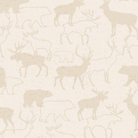 Henry Glass & Co Woodland Retreat Flannel F6804-40 Animal Silhouette Beige `