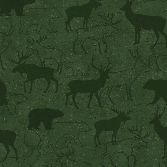 Henry Glass & Co Woodland Retreat Flannel F6804-66 Animal Silhouette Green `