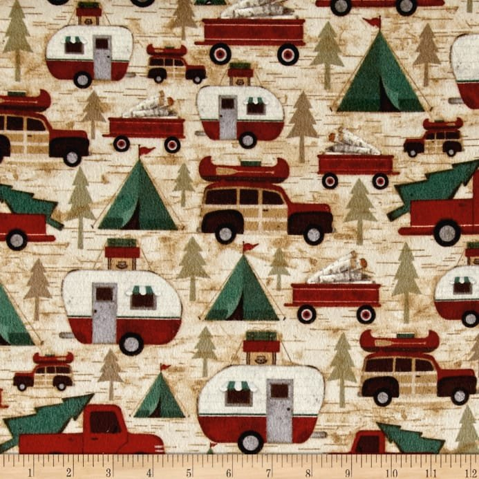 Henry Glass & Co Woodland Retreat Flannel F6805-63 Cars & Campers All over  '