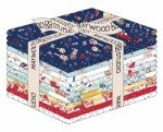 Kimberbell Fat Quarter Red, White & Bloom, 16pcs/bundle, inlcudes panel Maywood Studio