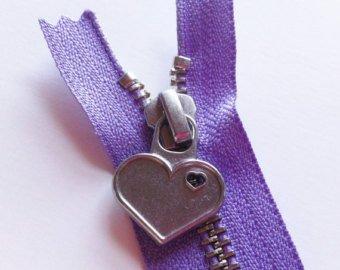 12 in Purple Metal Zipper Heart Pull `