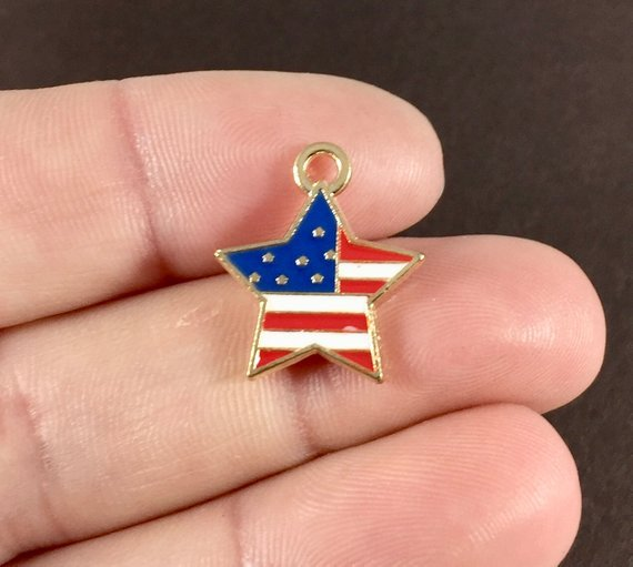 Flag in a Star Charm with Lobster Claw `