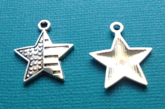 Silver Flag Star Charm with Lobster Claw `
