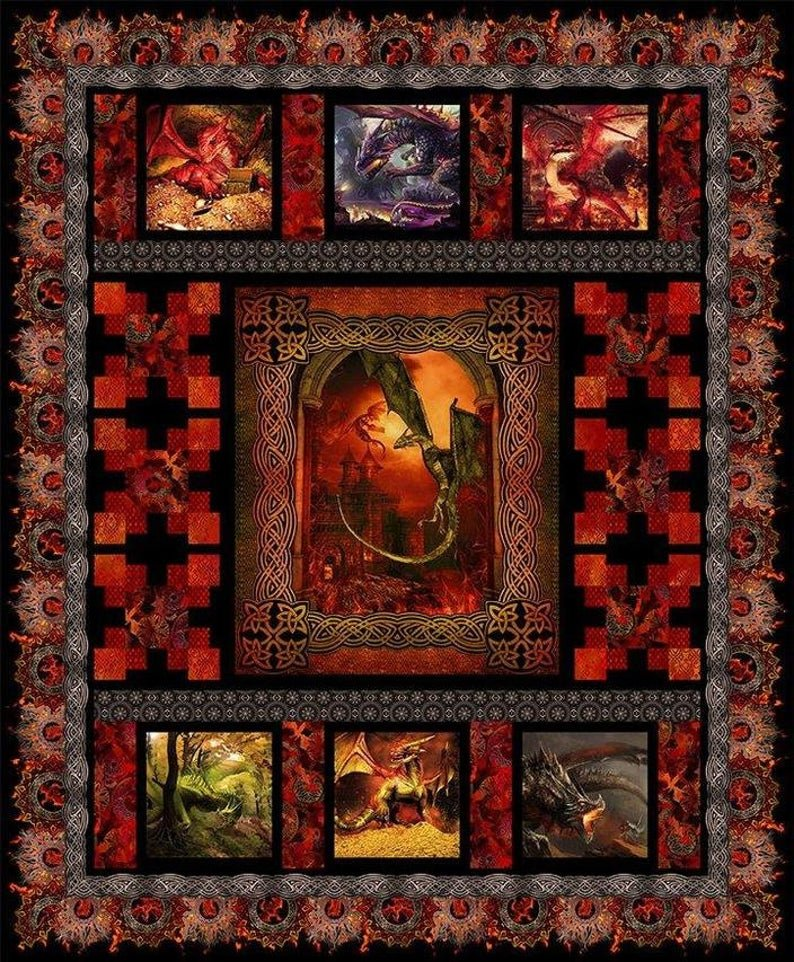 FBX 12 Dragons Quilt Kit from In the Beginning Fabrics - 76 x 92 Quilt Kit  ind Red