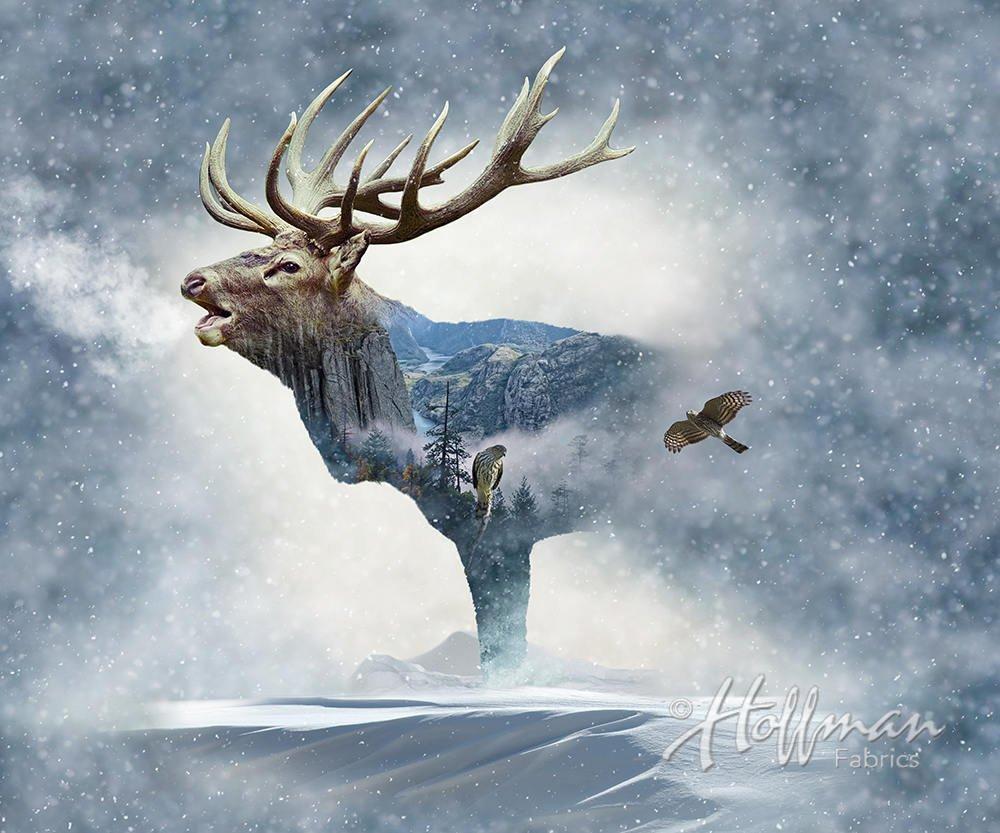Call of the Wild Elk Digital Panel Hoffman Fabrics P4397-483 `