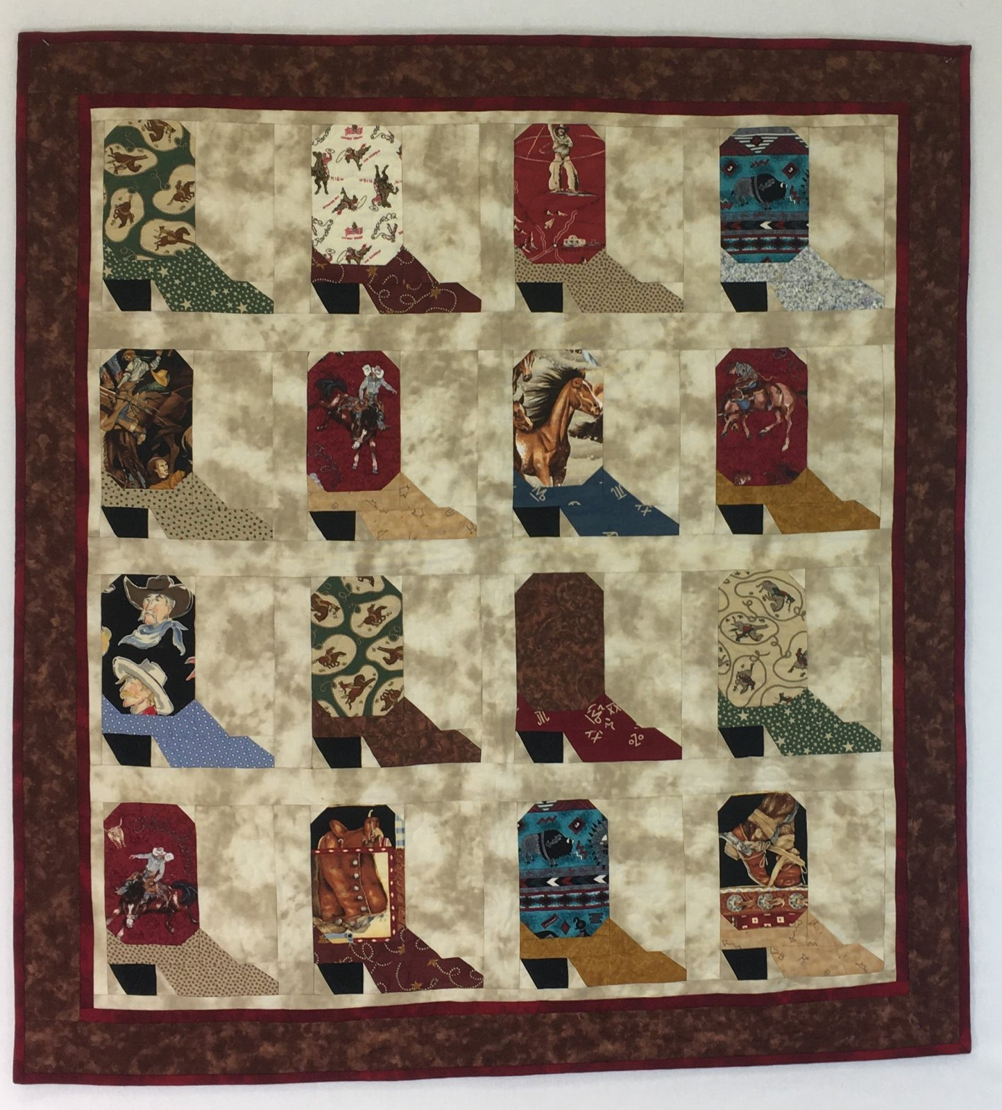 Cowboy Boots Quilt/ Wall Hanging Handmade