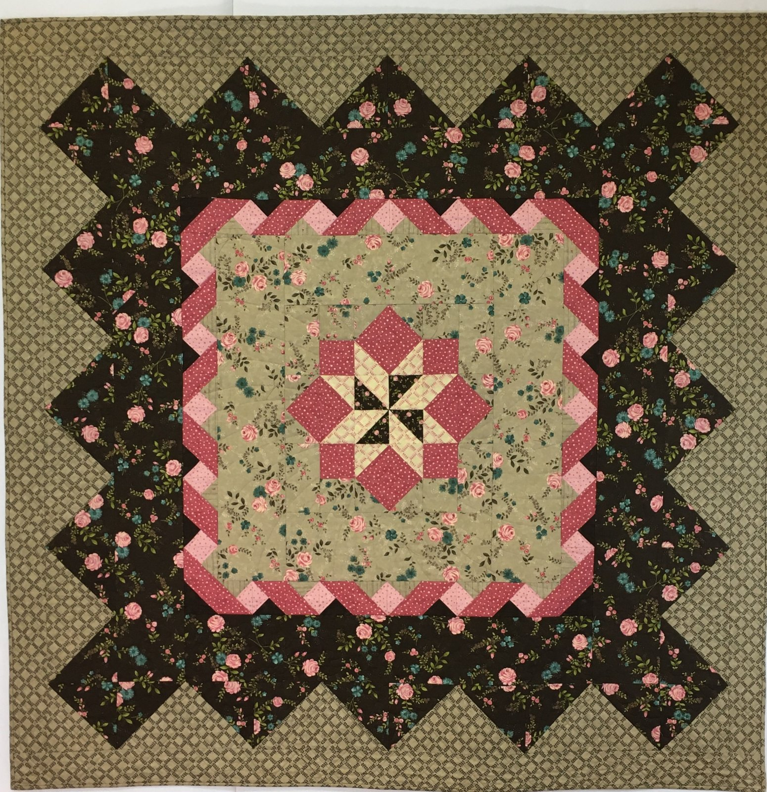 Ribbon and Roses Handmade Quilt by Sandy Gervais